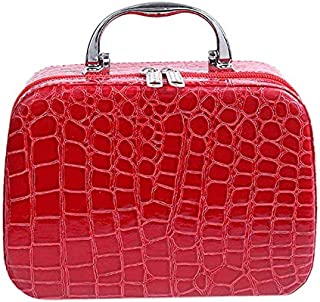 SODIAL Fashion Woman Makeup Case Cosmetic Bag Travel Organizer Beauty Box Medicine Stationery Cosmetics Holiday Gifts Red