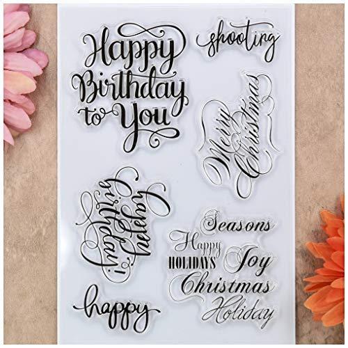 KWELLAM Words Happy Birthday to You Merry Christmas Seasons Happy Holidays - Sellos transparentes para hacer tarjetas, decoraci贸n y 谩lbumes de recortes