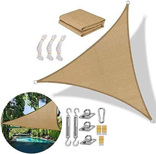 XISENOCI Parasol Triangular para Piscina, toldo, protección Solar Transpirable, 2x2x2m, con protección UV para jardín y terraza, marrón-2.4X2.4X2.4m