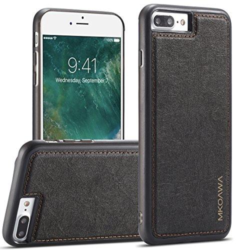 iphone 8 Plus Coque, MKOAWA iphone 7 Plus Coque, avec cuir mince antichoc étui de protection hybride pour Apple iPhone 8 Plus / iphone 7 Plus (5.5 pouces) - Noir