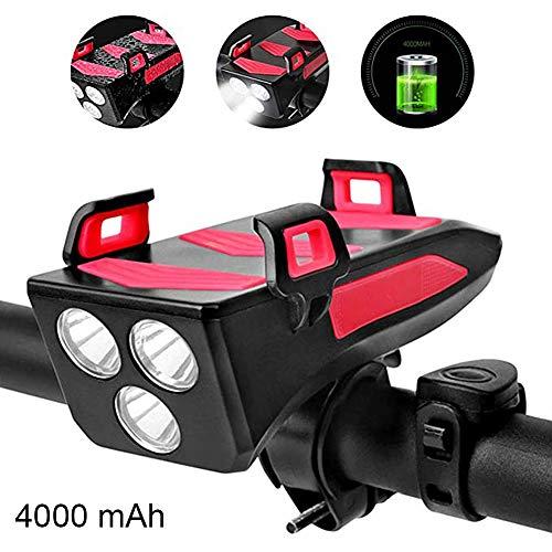 Takefuns Multiusos 4-en-1 bicicleta delantera lámpara linterna LED faro teléfonos inteligentes soporte cuerno banco de energía
