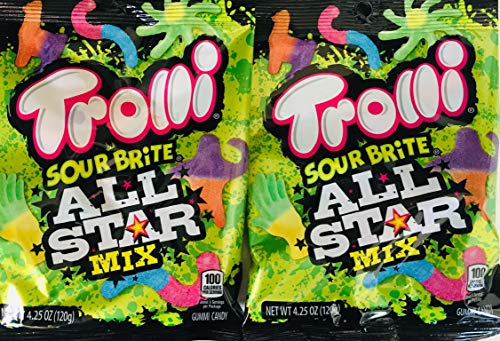 Trolli Sour Brite All Star Gummi Candy Mix Contains Llamas Crawlers Sloths Octopus & Tiny Hands 4.25 Ounce Bag (2 Pack)