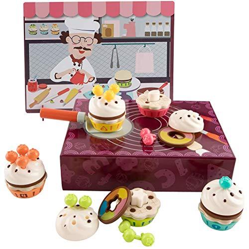 TOP BRIGHT Juego Educativo de Cupcakes – Comida Juguete de Madera para Niños de 3 a 6 años - Incluye Espátula, Galletas, Glaseados, Frutas y más - Desarrollo Cognitivo y Creatividad