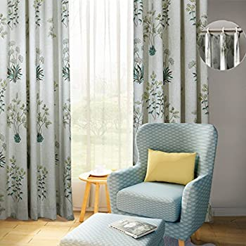 ChadMade Pinch Pleat for Track 84Wx84L Inch Luxury Country Botanical Floral Print Polyester Cotton Blackout Lining Curtain Drape for Bedroom Living Room Villa Restaurant