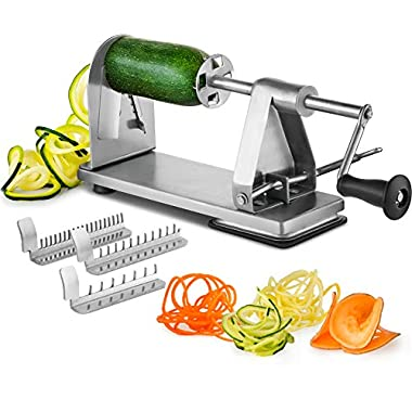 MITBAK Stainless Steel Spiralizer Vegetable Slicer | Industrial-Grade 3-Blade Zoodle Maker | Zucchini spaghetti maker | Great For Salad, Low Carb, Paleo, Vegan, Spaghetti | Suction Base For Non Slip