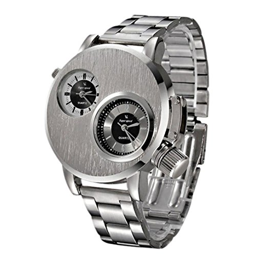 Rakkiss New Mens Stainless Steel Date Military Sport Quartz Analog Wrist Watch (Silver)