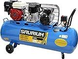 SAURIUM - Compresor de Aire - Con Correas - Gasolina + Eléctrico - 200L 5.5/3HP - Ideal para trabajos en lo exterior