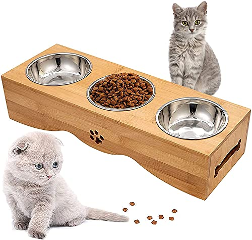 Optyuwah Futterstation Katze, Katzennapf Katzennäpf auf Napfständer - 3er Edelstahl Schüsseln Futterschale Set für Wasser und Futter - Futternäpfe für Katzen oder kleine Hunde