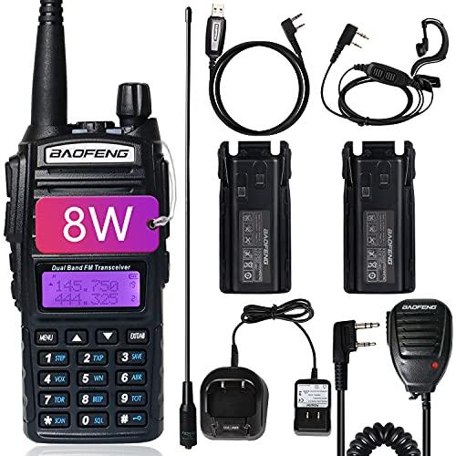 BaoFeng UV-82 BaoFeng Radio High Power Dual Band Radio Ham Radio Portable 2 Way Radio with Extra 2800mAh Battery Full Kits(1 Pack-Black)