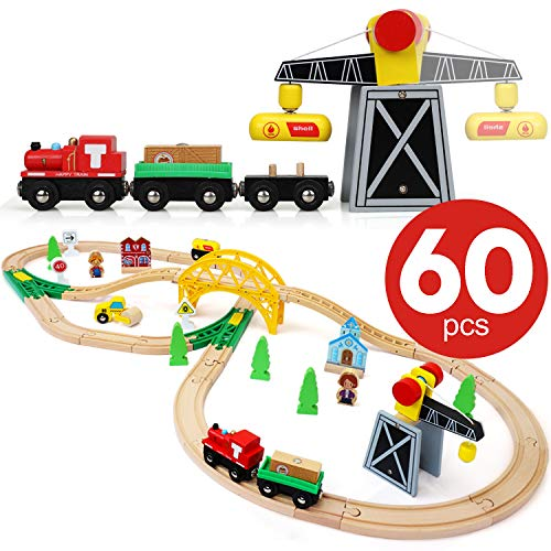 TOY Life Wooden Train Set - Wood Train Set for Boys and Girls - Wood Tracks Compatible with Thomas and Other Major Brands - Toy Train Set Boys 4 - 7 Train Set for Toddlers and 3+ Year Old Boys