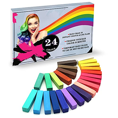 YUHENGLE Haarkreide, Haar Colorationen, 24 Farben Temporäre Haarfarbe, Colorful Professional Waxy-Mehrere Farboptionen-für Karneval, Party, Weihnachten Halloween Geburtstag