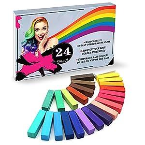YUHENGLE Tiza para el cabello, 24 colores de color temporal para el cabello, colorido profesional cera, múltiples opciones de color, para carnaval, fiesta, Navidad, cumpleaños, Halloween