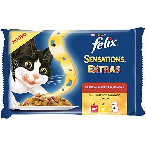Felix Sensations Extras Comida para el Gato, con Manzo Y Un pizzico de Queso y con Pollo y un pizzico de Bacon, 4x 100g–Paquete de 10Unidades
