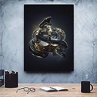 絵画壁アートHDスネークプリントポスターブラックゴールドキャンバス1ピエック家の装飾リビングルームのためのクールな写真19.7x29.5インチフレームレス