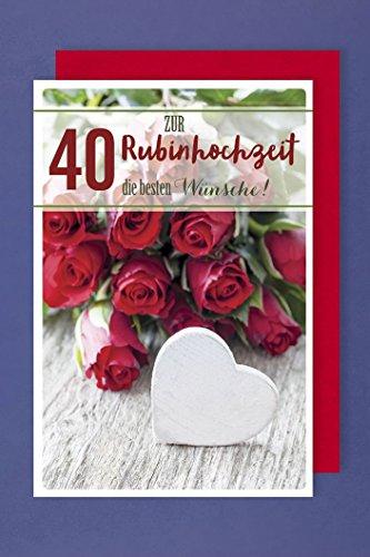 Rubin Hochzeit 40 Grußkarte Papierbanderole Rote Rosenstrauß 16x11cm Plus 3 Sticker