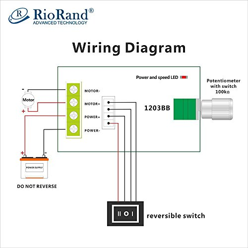 RioRand 6V 12V 24V 28V 3A 80W DC Motor Speed Controller PWM Speed Adjustable Reversible Switch 1203BB DC Motor Driver Reversing