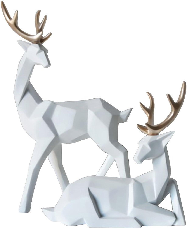 tienda de ventas outlet NON NON NON MagiDeal 1 Par Ornamento de Resina Estatua de Figura Pareja de Ciervos Alces - blancoo  sin mínimo