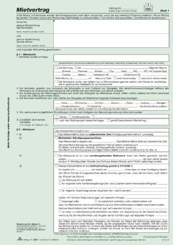 RNK-Verlag Universal-Mietvertrag für Wohnungen - SD, 3 x 2 Blatt, DIN A4, 1 Packung à 10 Stück , Hersteller: RNK-Verlag