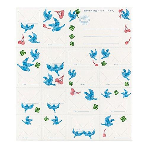 デザインフィル『ミドリカラー色紙寄せ書きシール16枚付青い鳥柄(33179006)』