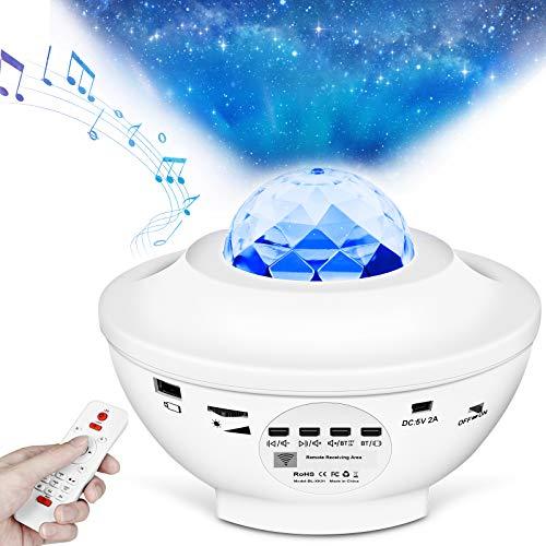 LED Sternenlicht Projektor, Rotierende Wasserwellen Projektionslampe, Ferngesteuerte Nachtlichter, Farbwechsel Musikspieler mit Bluetooth & Timer, für Kinder Erwachsene Zimmer Dekoration