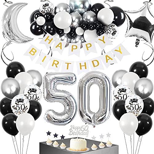 SPECOOL 50 Ans Anniversaire Décorations Ballon, Joyeux Anniversaire Ballons Blancs Confettis Argent Noir Fourniture d'anniversaire Joyeux Anniversaire avec Décorations de Guirlande pour Hommes Femmes