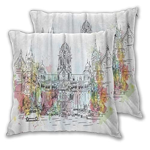 LONSANT Fundas de Cojines 55x55cm,Boceto de Acuarela de Bombay de CST Chatrapati Shivaji Terminus Mumbai India en el Mundo,decoración Fundas de Almohada Funda de cojín para sofá Dormitorio,Pack de 2