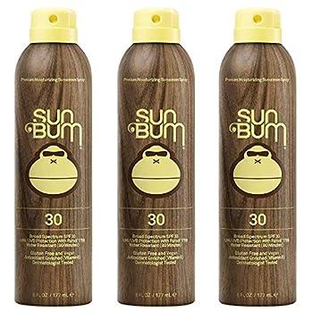 Sun Bum Original Moisturizing Sunscreen Spray SPF 30 | Vegan and Reef Friendly | Octinoxate & Oxybenzone Free | Broad Spectrum UVA/UVB Sunscreen with Vitamin E | 6 oz | Pack of 3