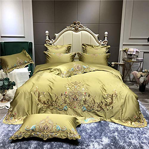 Conjuntos de ropa de cama, juego de funda de edredón impreso - 4 unids cubierta de microfibra cepillada cubierta con almohadas de algodón anti-arrugas reina reina reina amarilla WANGHN ( Size : King )
