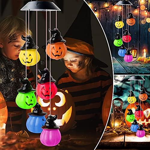 Solar Pumpkin Lights Solar Wind Chimes with 6 LED Pumpkin Lights, Automatic...