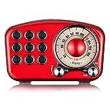 Receptor retro, altavoz Bluetooth de radio retro, radio FM, estilo clásico, potente volumen de graves Bluetooth 4.2, conexión inalámbrica TF tarjeta y reproductor de MP3.