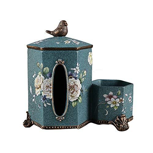 Juego de té de Estilo Japonés Porta Papel Caja de pañuelos de American Vintage con Control Remoto Caja de Almacenamiento for el Dormitorio aparadores Boroes (Color : Beige, tamaño : 24X23X14CM)