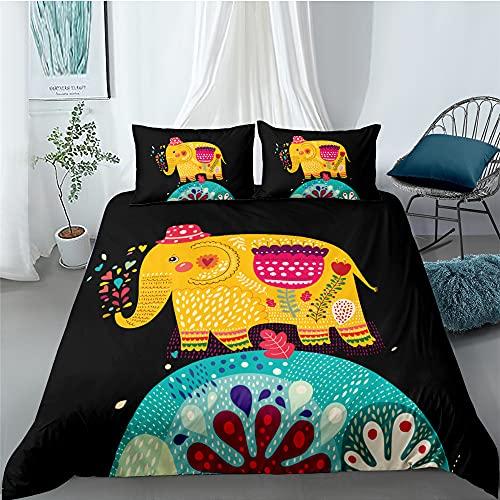 XSXS Juego De Funda De Edredón Reversible con Diseño De Mandala, Diseño De Elefante, Fácil De Cuidar, Antialérgico, Suave Y Liso, con Fundas De Almohada (Elefante 1,180X220cm-Cama 105)