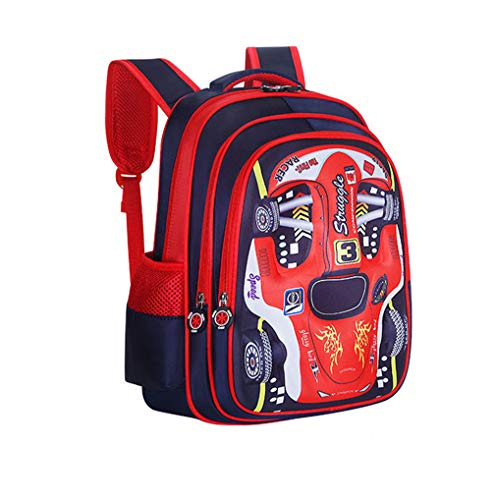 PGYFIS  Waterproof Children Backpack Kid Backpack Cloth Book Bag Cute Car Cartoon 3D Stereo Stamper Design Child Durable School Bags Backpack (red)