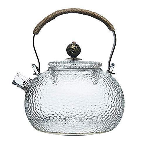 JiangKui Tetera de 700 Ml, Hervidor de Agua Fría, Martillo, Vidrio Resistente Al Calor, Mango de Cobre Transparente, Olla de Haz, Se Puede Calentar Hervidor