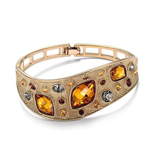 VIENNOIS Vintage-Armreifen für Frauen, Modeschmuck, kaffeefarben, goldfarbene Legierung mit österreichischen Strasssteinen, orangefarbenen Kristallen.