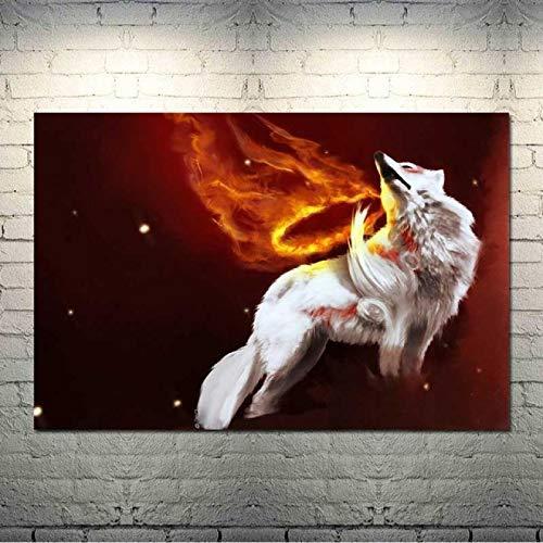 jinzhechukoumaoyi Okami Fire Wolf Animation Leinwandbilder Home Decor Bilder Modernes gedrucktes Poster für Wohnzimmer Wandkunst 50x70cm Kein Rahmen (JE-25)