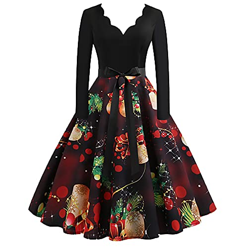 Sexy Christmas Dresses for Women, Ruffle V Neck Long Sleeve Trendy Bow Belt Formal Party Gowns Casual Pleated Dress