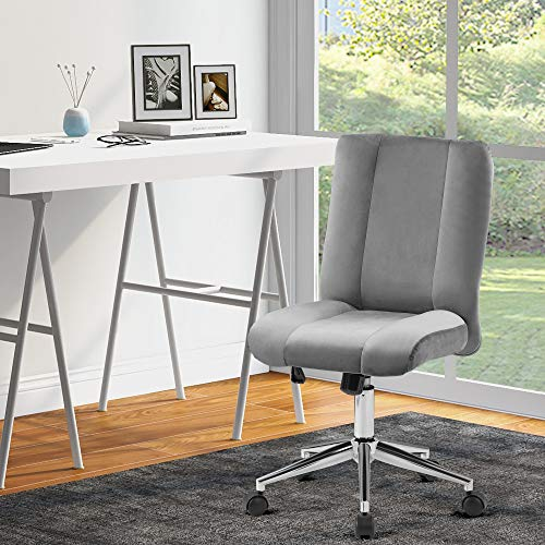 Armless Office Chair Velvet Ergonomic Computer Task Desk Chair Without Arms Fabric Swivel Chair Home Office Bedroom Height & TILT Adjustable (Grey)