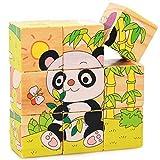 shenlanyu Rompecabezas de los niños 9pcs/Set 3D Puzzle Juguetes de Madera Seis Lados Patrón Animal Cubo de Madera Rompecabezas Juguetes para Niños Juguetes Educativos