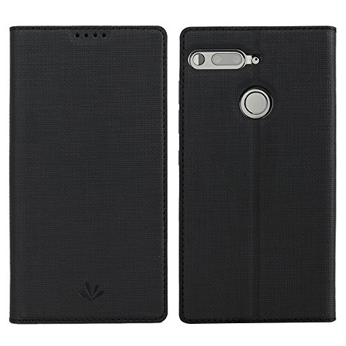 Essential PH-1 Phone Case,Feitenn Essential Premium Flip Leather PU Wallet Smart Case Stand Kickstand Card Holder Magnetic Silicone Clear TPU Bumper Slim Thin Cover Case for Essential phone PH-1 Black