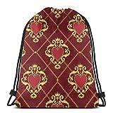 Hangdachang Sagrado Corazón y Cadena Dorada Mochila con Cordón Gimnasio Bolsas de Baile Bolsas de Viaje de Hombro Regalo de Cumpleaños 36 x 43 cm / 14.2 x 16.9 Pulgadas