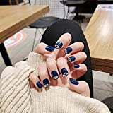 CSCH Uñas postizas 24pcs / boxed con Flash Diamond Haze Blue High Gloss Hand White Short Manicure Fake Nails Patch Productos terminados presione en las uñas