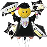 5Pcs Graduation Balloons Party Supplies Balloons Decorations, Jumbo Jumping Grad Balloons Congrats Graduation Cap Balloons Square Congrats Mylar Graduation Balloons for College High School