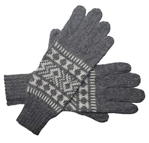 Posh Gear Alpaka Handschuhe Guantofigura Fingerhandschuhe Damen Herren aus 100% Alpakawolle, grau, Größe M
