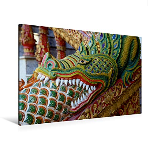 CALVENDO Premium Textil-Leinwand 120 cm x 80 cm quer, Thailand, Drache vor dem Tempel | Wandbild, Bild auf Keilrahmen, Fertigbild auf echter Leinwand. in Chiang Mai, Thailand Orte Orte
