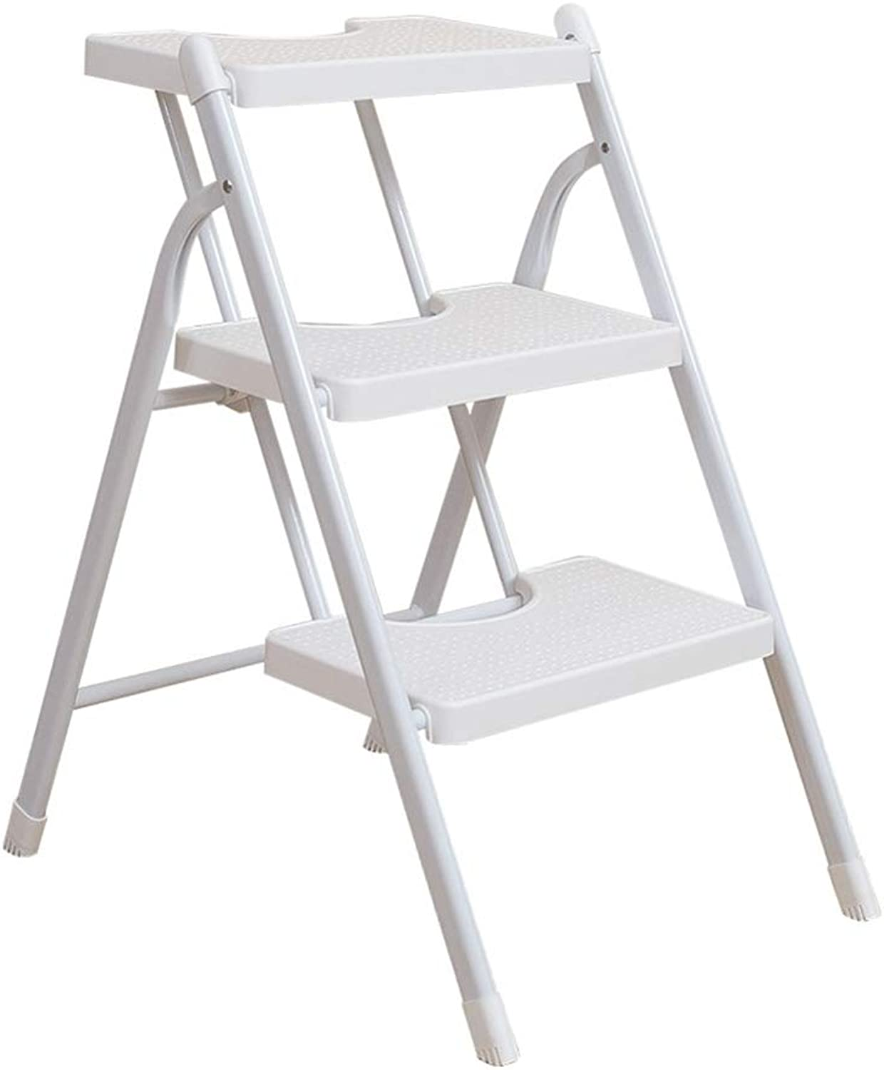 Ladders Step Stool, 3 Steps Stool Ladder Dual Purpose PP Plastic Pedal Multifunction Foldable Household Change shoes Ascending Ladder (color   White)