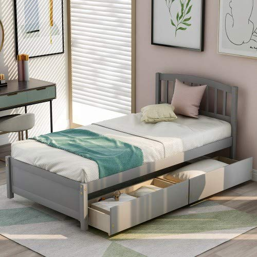 Twin Platform Storage Bed Wood Bed Frame with Two Drawers and Headboard,No Box Spring Needed (Gray)