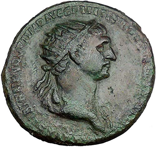 1 IT TRAJAN with trophy on either side 115AD HUGE Anci Denomination_in_description Good