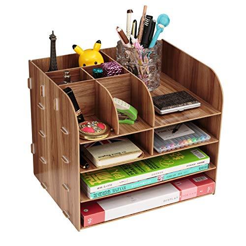 Organiseur de bureau en bois pour fournitures de bureau information classeur bibliothèque papier boîte de rangement porte-stylo Capacité pour bureau et maison (bois, A#)