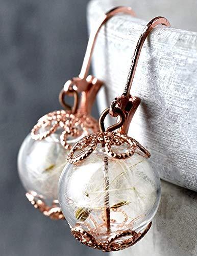 Verzierte Ohrringe mit Pusteblumen - Rose Vergoldet - Handgefertigt - Sicherer Verschluss